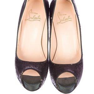 Christian Louboutin sequin peep-toe heels 36